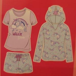 Unicorn 3 Piece PJ Set Sleepwear XS S 5/6 7/8